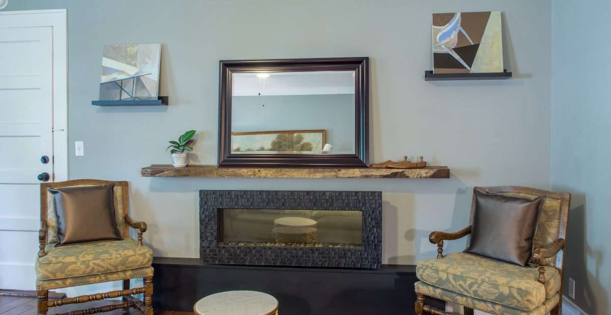 The Fireplace sitting room as viewed from the leather couch